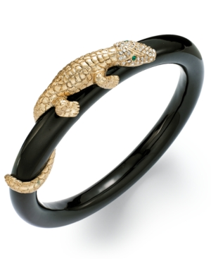 ABS by Allen Schwartz Bracelet, Gold-Tone Pave Crystal Alligator Black Bangle Bracelet